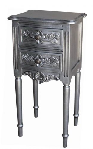 French Rococo Bedside with Fluted Legs in Silver Leaf